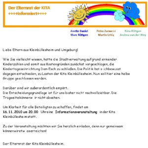 Read more about the article Drohende Gruppenschließung in unserer Kita